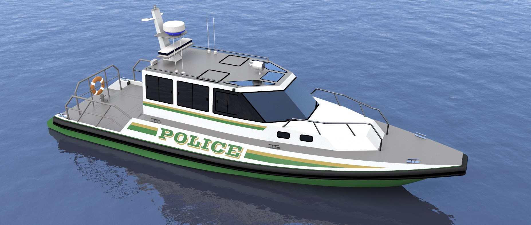 ' POLICE BOAT - AIREAL FRONT VIEW